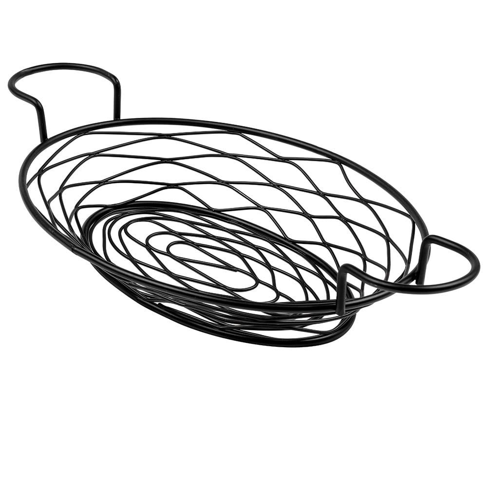 "American Metalcraft BNBB821 11"" Oval Wire Basket w/ Ramekin Holder, Black"