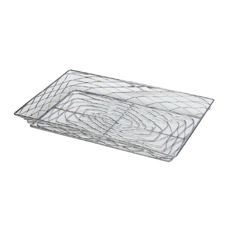 "American Metalcraft BNBC20132 20"" Rectangular Wire Basket, Chrome"