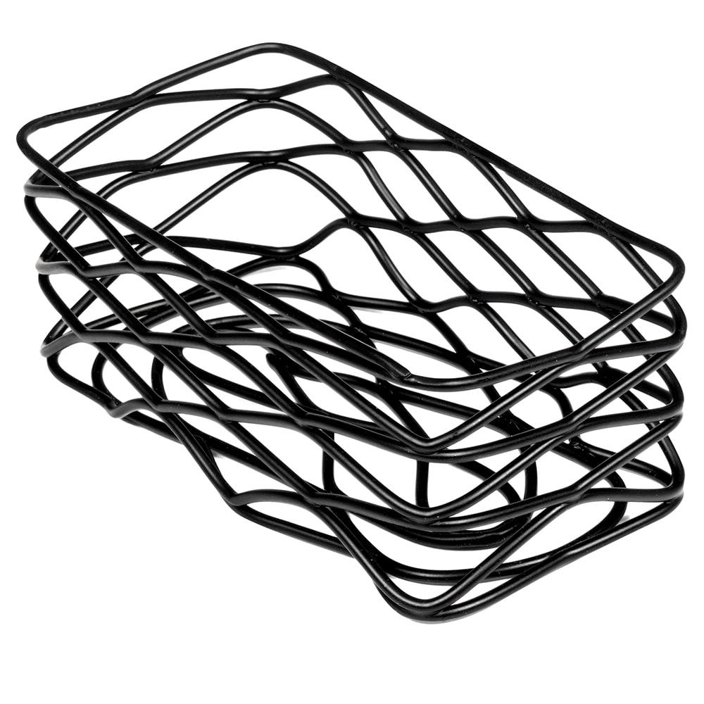 American Metalcraft BNSB3 Rectangular Wire Condiment Basket, Black