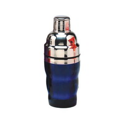 American Metalcraft BSJ10 3-Piece Cocktail Shaker w/ 10-oz Capacity, Blue/Stainless