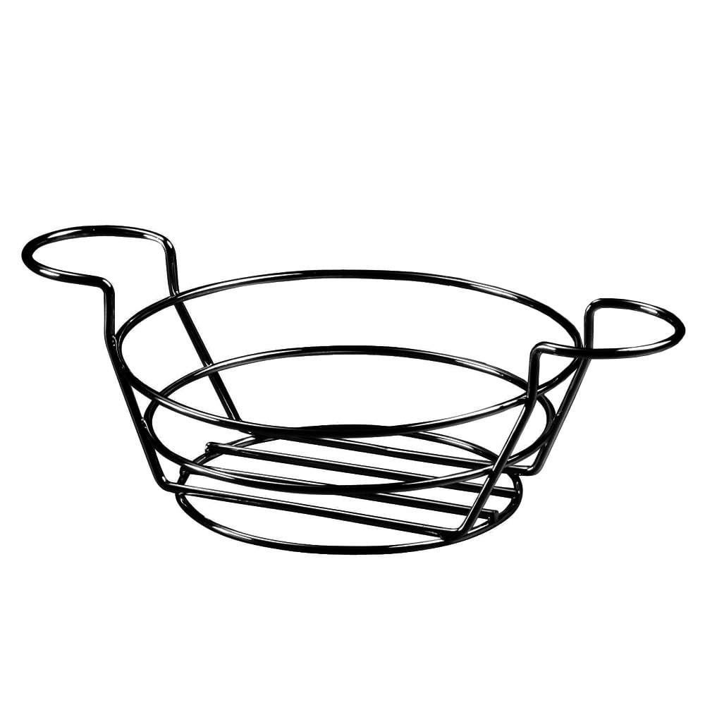 """American Metalcraft BSKB80 8"""" Round Wire Basket w/ Ramekin Holder, Black"""
