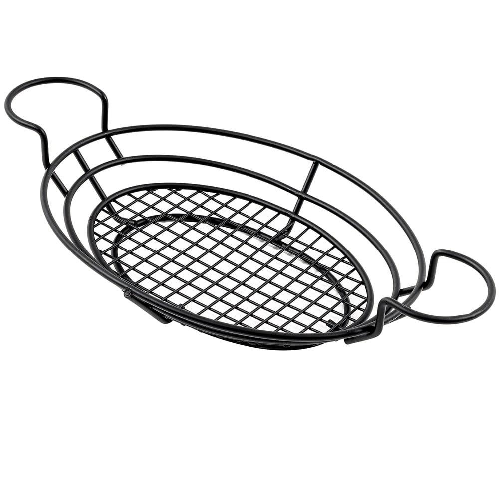 "American Metalcraft BSKB811 Oval Wire Basket w/ Ramekin Holder, 11x8"", Black"