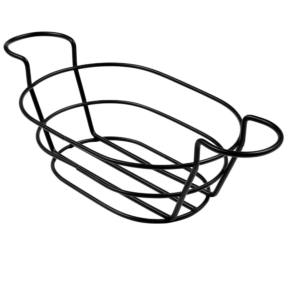 "American Metalcraft BSKB96 Oval Wire Basket w/ Ramekin Holder, 6x9"", Black"