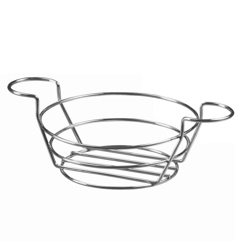 "American Metalcraft BSKC08 8"" Round Wire Basket w/ Ramekin Holder, Chrome"