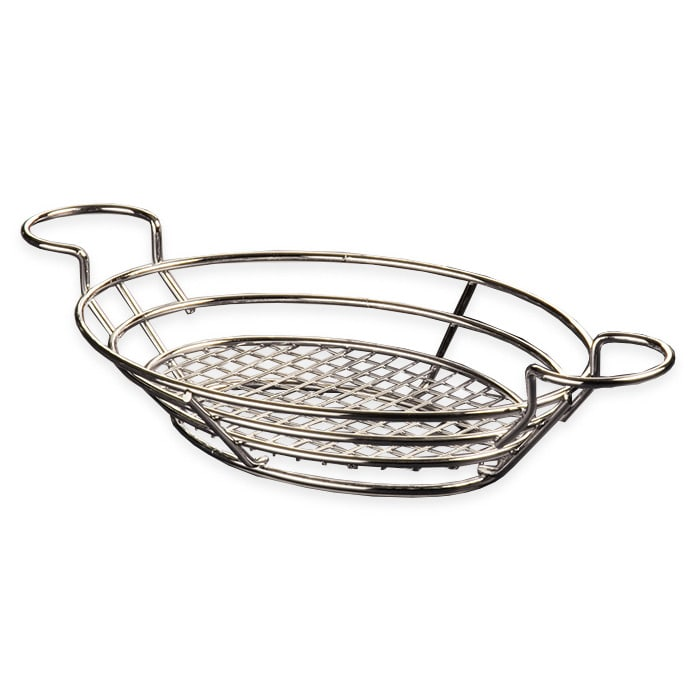 "American Metalcraft BSKC118 Oval Wire Basket w/ Ramekin Holder, 11x8"", Chrome"
