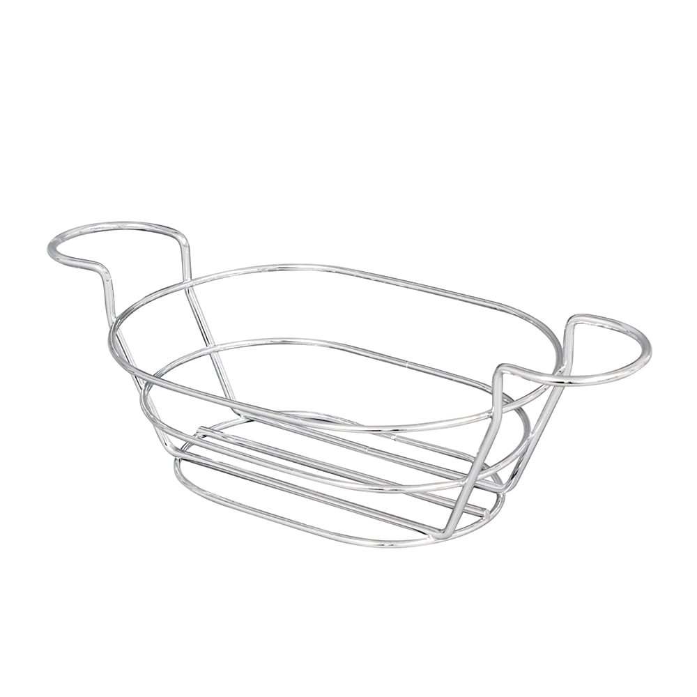 "American Metalcraft BSKC69 Oval Wire Basket w/ Ramekin Holder, 6x9"", Chrome"