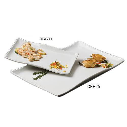 "American Metalcraft CER25 Wavy Rectangular Platter, 21.75x14.12"", Ceramic/White"