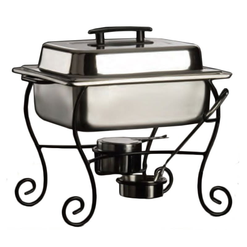 American Metalcraft CF50 Half Size Chafer Frame & Cup w/ Side Handle, Black/Wrought Iron