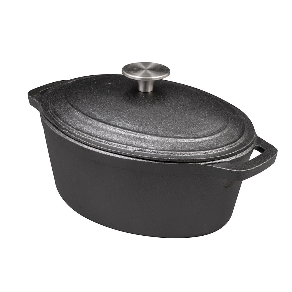 American Metalcraft CIPO3 3 qt Oval Casserole Dish with Lid - Cast Iron