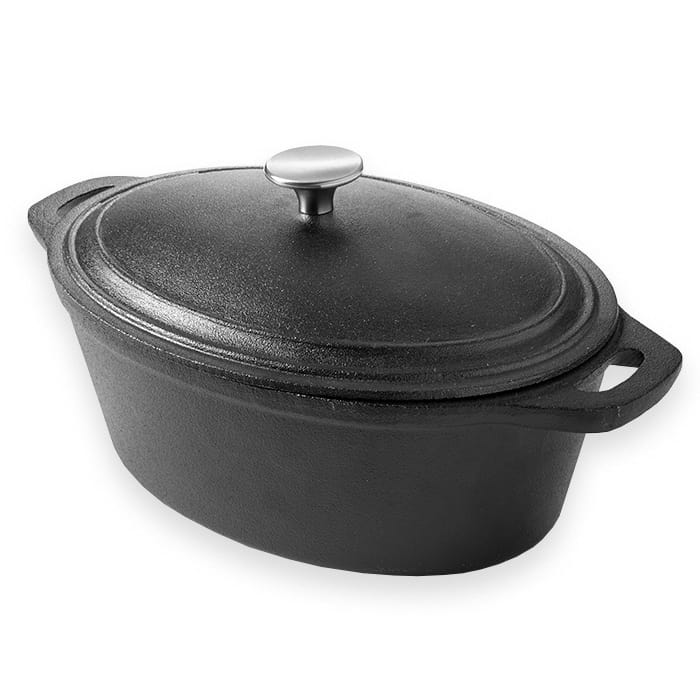 American Metalcraft CIPO4 4-qt Oval Casserole Dish with Lid - Cast Iron