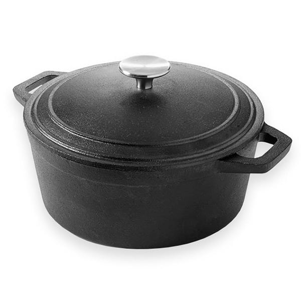 American Metalcraft CIPR4 4 qt Round Casserole Dish with Lid - Cast Iron