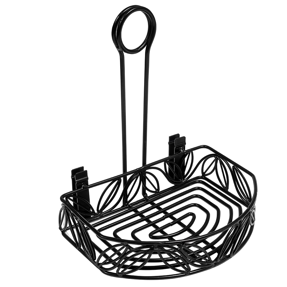 American Metalcraft CRL86 Semi Round Condiment Caddy w/ Leaf Design, Wrought Iron/Black