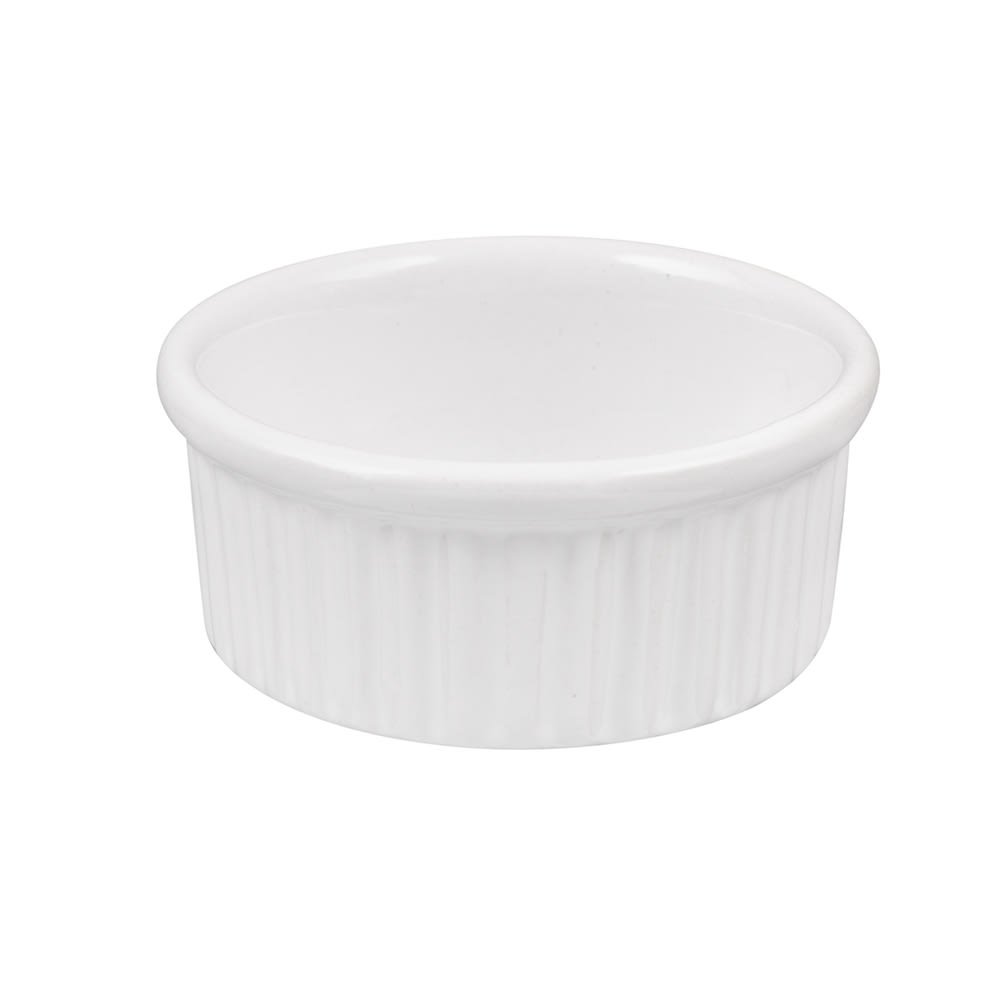 American Metalcraft CRMK4 Fluted Ramekin w/ 4 oz Capacity, Ceramic/White