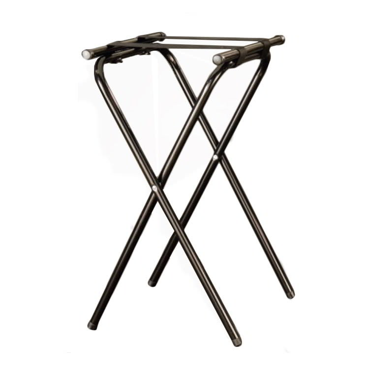 American Metalcraft CTS31 Folding Tray Stand w/ Nylon Straps, Chrome/Black
