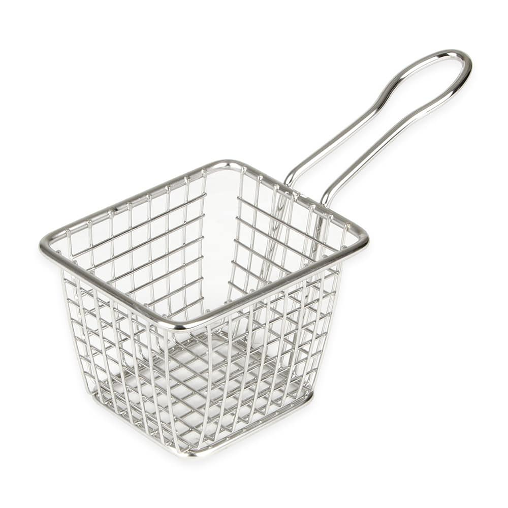 "American Metalcraft FRYT433 4"" Mini Rectangular Tabletop Fry Basket, Stainless"
