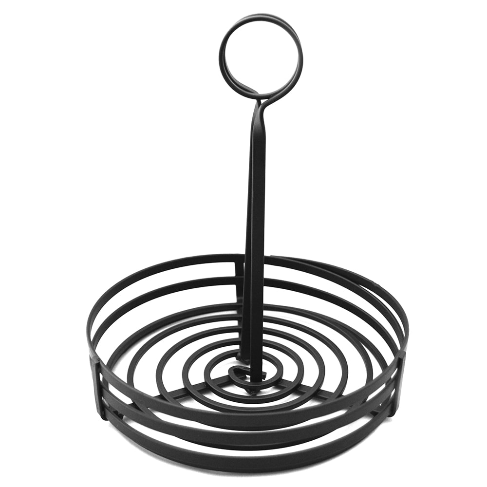 "American Metalcraft FWC89 7.87"" Flat Condiment Basket w/ Slotted Handle, Black"