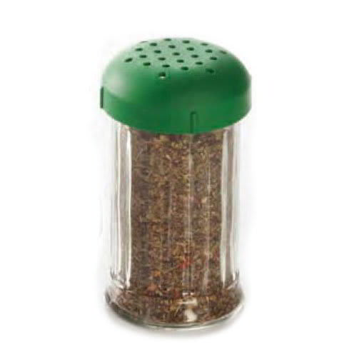 American Metalcraft GLGP 12-oz Glass Shaker - Perforated Green Lid