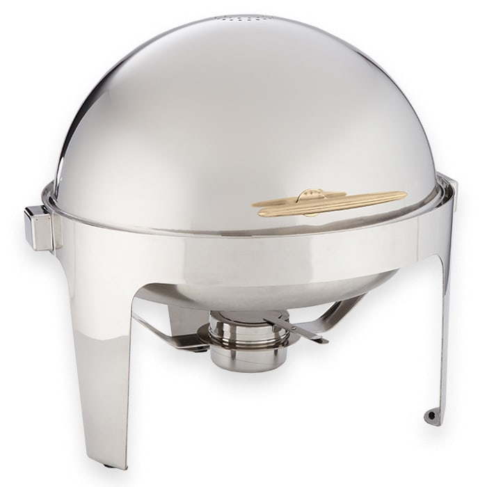 American Metalcraft GOLDAGRD18 Round Chafer w/ Roll-Top Lid & Chafing Fuel Heat