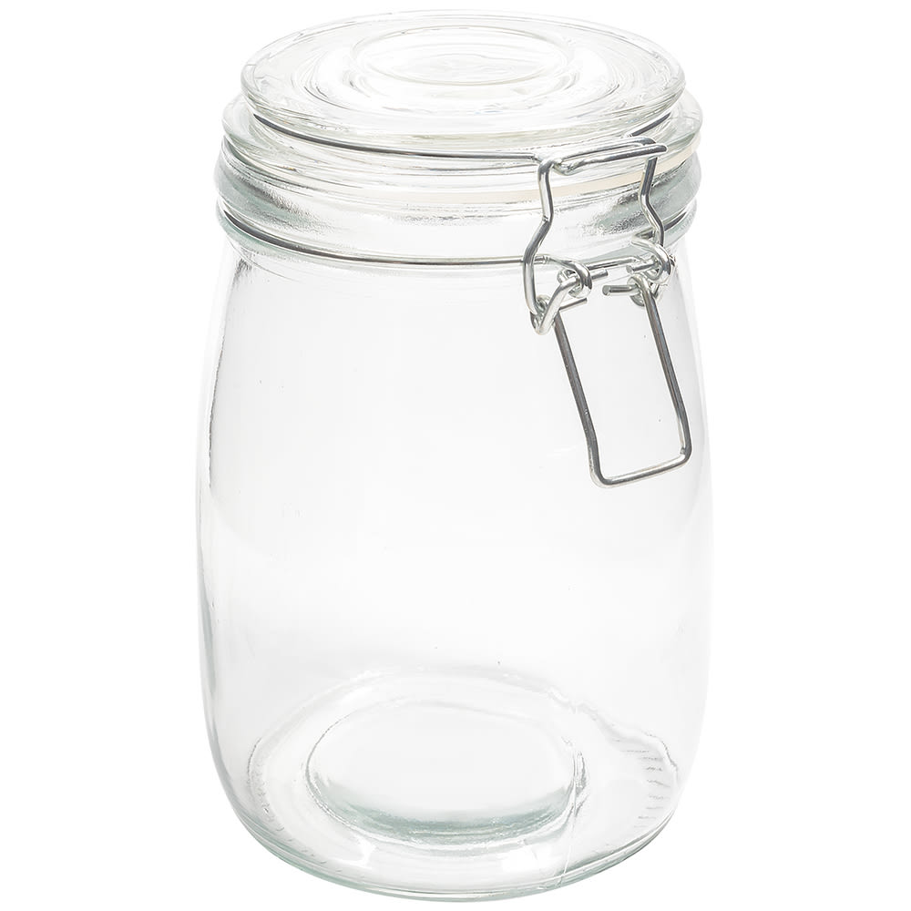 American Metalcraft HMJ6 35-oz Mason Jar w/ Hinged Lid - Glass