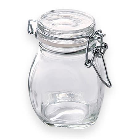 American Metalcraft HMMJ3 3.5 oz Mini Mason Jar with Hinged Lid - Glass