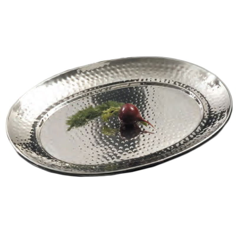 """American Metalcraft HMOST1317 Oval Serving Tray, 13.25x17.25"""", Hammered, Stainless"""