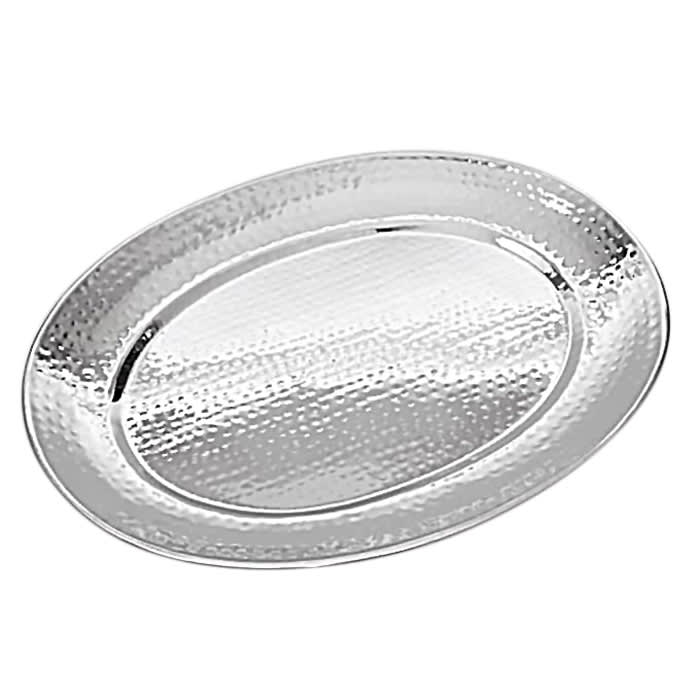 """American Metalcraft HMOST1520 Oval Serving Tray, 15.5x20"""", Hammered, Stainless"""