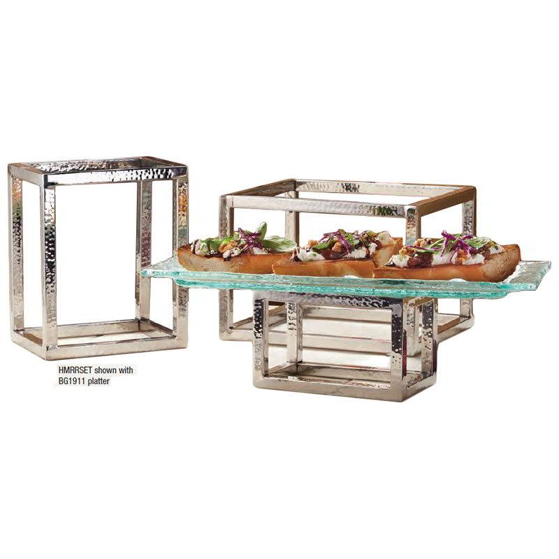 American Metalcraft HMRRSET Frame Riser Set, Hammered, Stainless