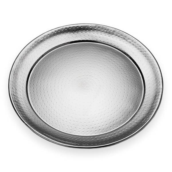 "American Metalcraft HMRST1801 18"" Round Serving Tray, Hammered, Stainless"