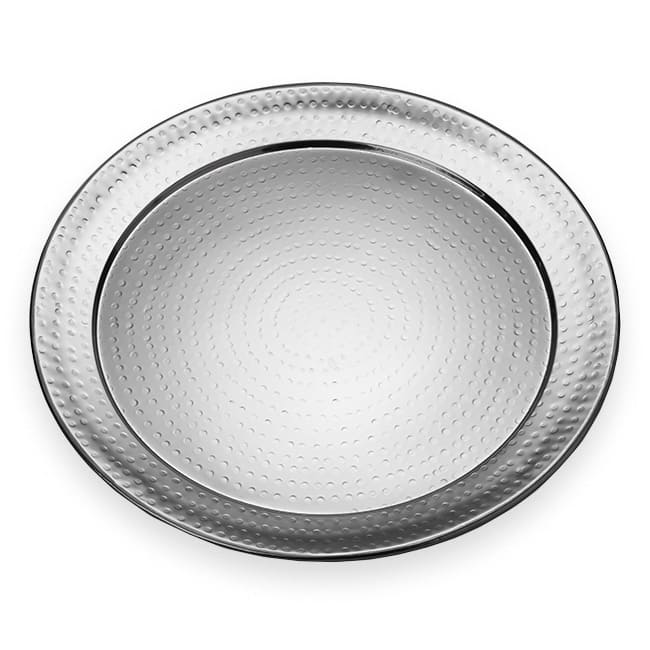 "American Metalcraft HMRST2001 20"" Round Serving Tray, Hammered, Stainless"