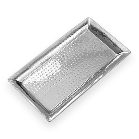 "American Metalcraft HMRT814 Rectangular Tray, 14.12x7.37"", Hammered, Stainless"