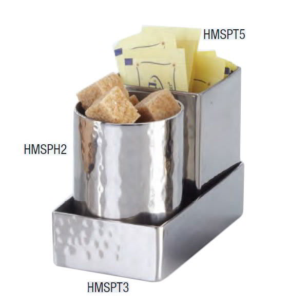 "American Metalcraft HMSPT5 2"" Square Sugar Packet Holder, Hammered, Stainless"