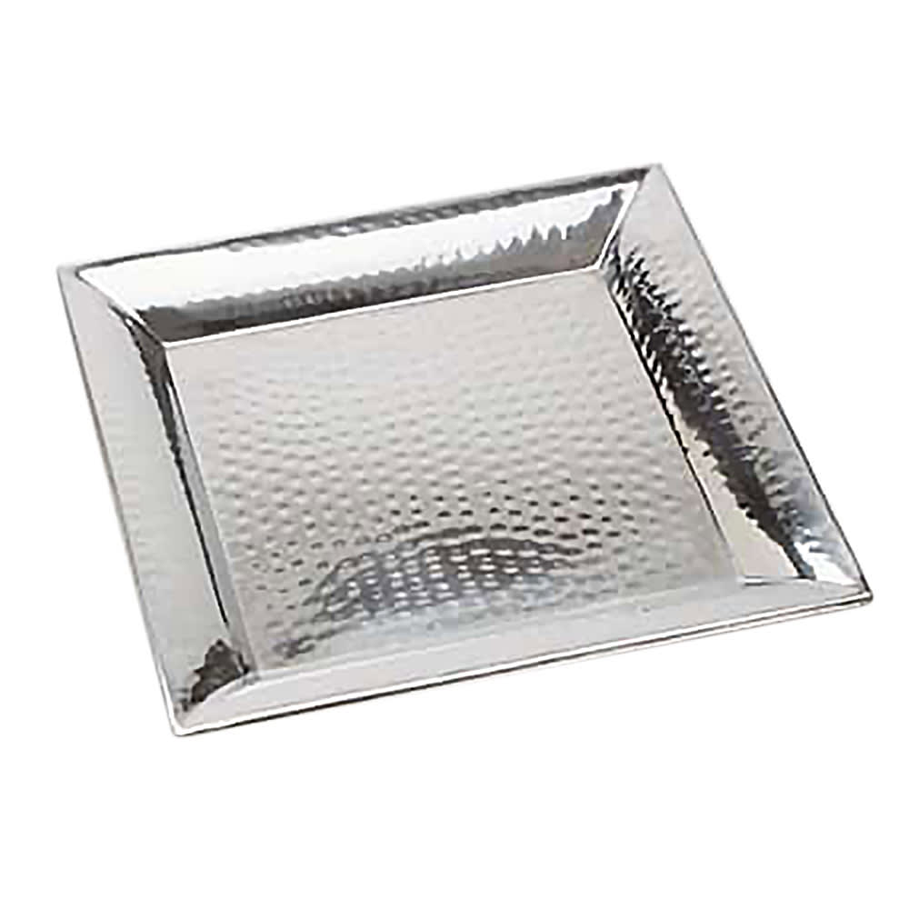 "American Metalcraft HMSQ16 Square Serving Tray, 16x16"", Hammered, Stainless"