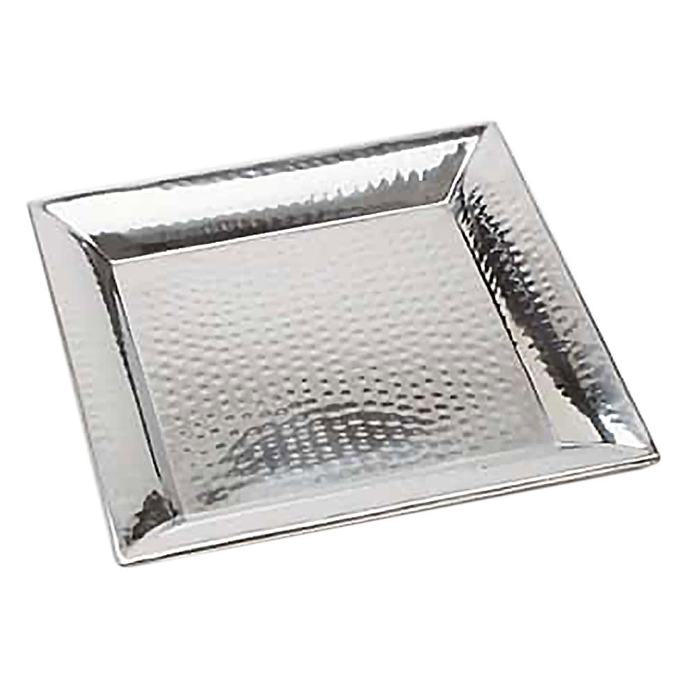 """American Metalcraft HMSQ18 Square Serving Tray, 18x18"""", Hammered, Stainless"""