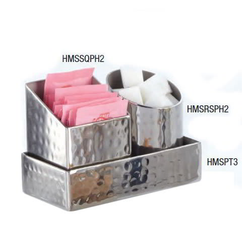 "American Metalcraft HMSSQPH2 2"" Square Sugar Packet/Cube Holder, Hammered, Stainless"