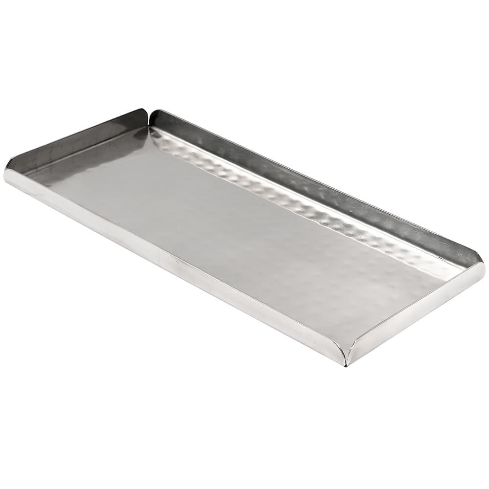 "American Metalcraft HMST10 Rectangular Sushi Tray, 10x4.5"", Hammered, Stainless"