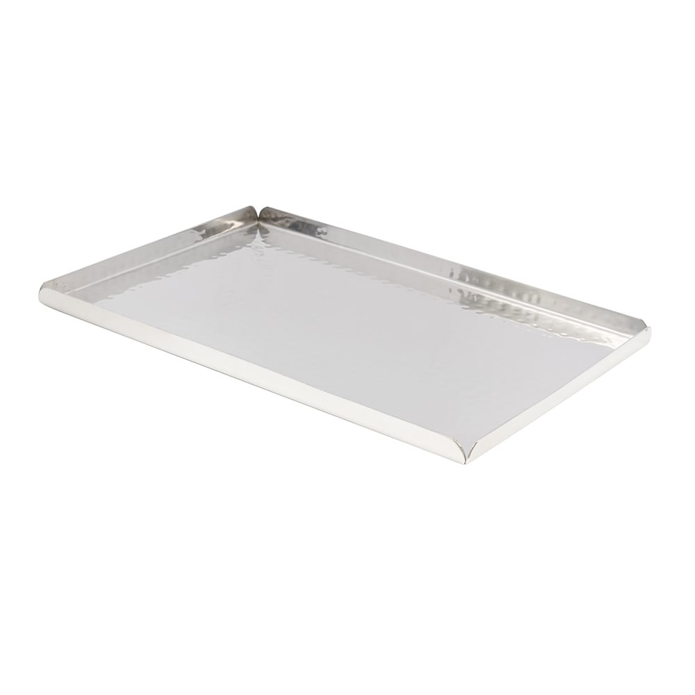 "American Metalcraft HMST12 Rectangular Tray - 12x8-1/4"" Hammered-Finish Stainless"