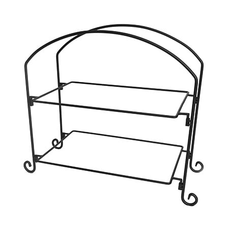 American Metalcraft IS12 2-Tier Rectangular Platter Stand w/ Curled Feet, Large, Wrought Iron/Black