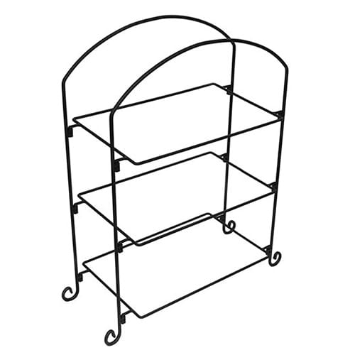 American Metalcraft IS13 3 Tier Rectangular Platter Stand w/ Curled Feet, Large, Wrought Iron/Black