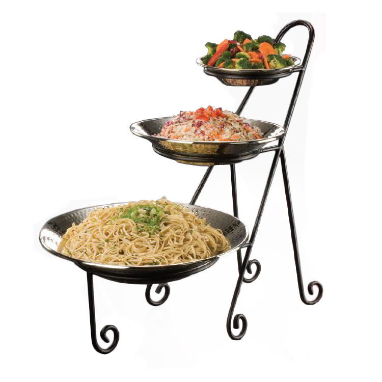 American Metalcraft IS15 3-Tier Large Platter Stand w/ Curled Feet, Holds 1-CER5, 1-CER7 & 1-CER9, Wrought Iron/Black