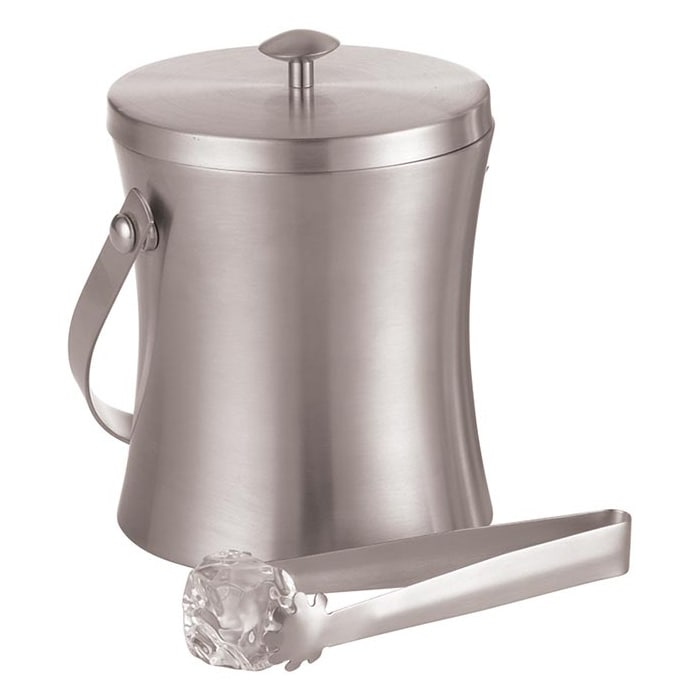 """American Metalcraft ISSB6 4.87"""" Ice Bucket w/ 34-oz Capacity & Ice Tong, Satin/Stainless"""