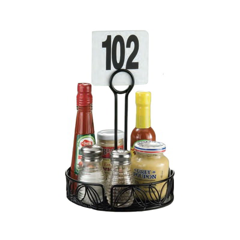 "American Metalcraft LDCC17 7.5"" Condiment Rack w/ Center Handle & Leaf Design, Wrought Iron/Black"