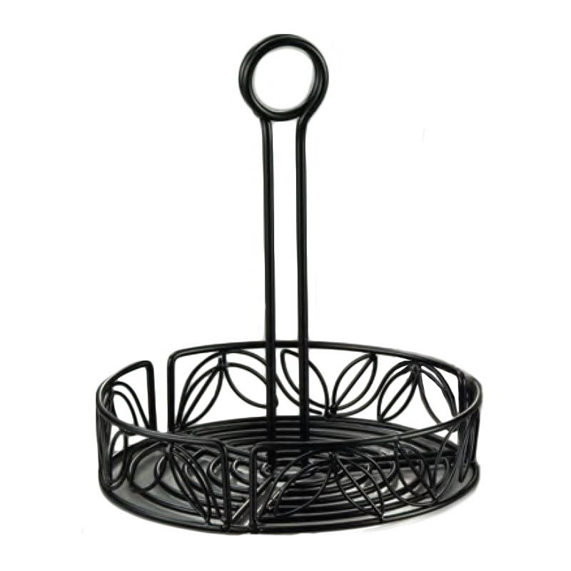 "American Metalcraft LDCC18 7.75"" Condiment Rack w/ Center Handle & Leaf Design, Wrought Iron/Black"