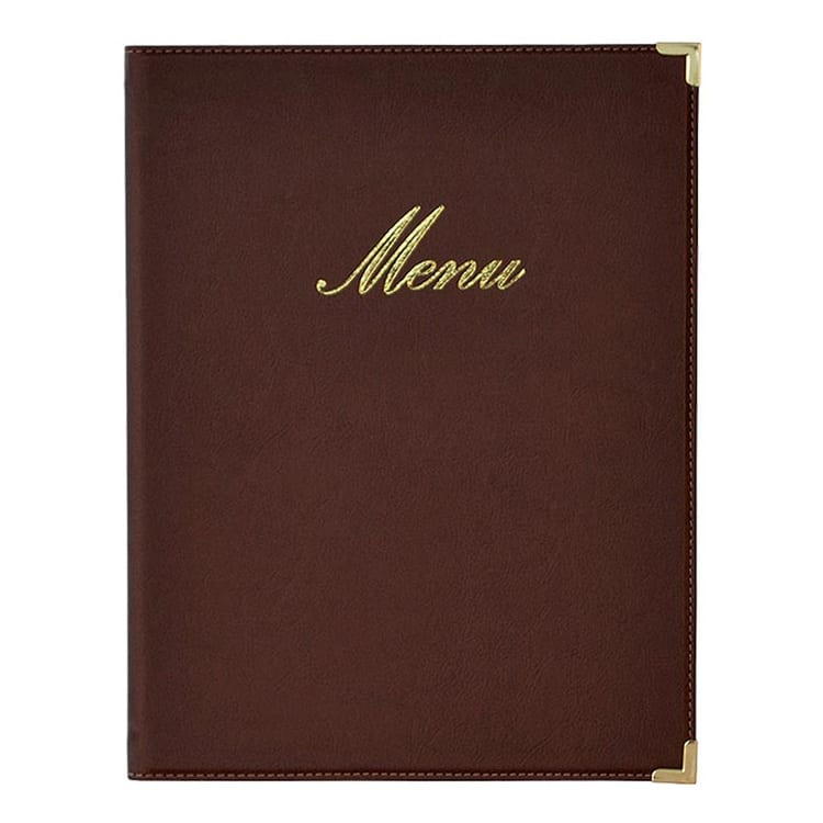 American Metalcraft MCCRLSBR Menu Cover w/ 2-Page Insert & Album Style Corners, Brown