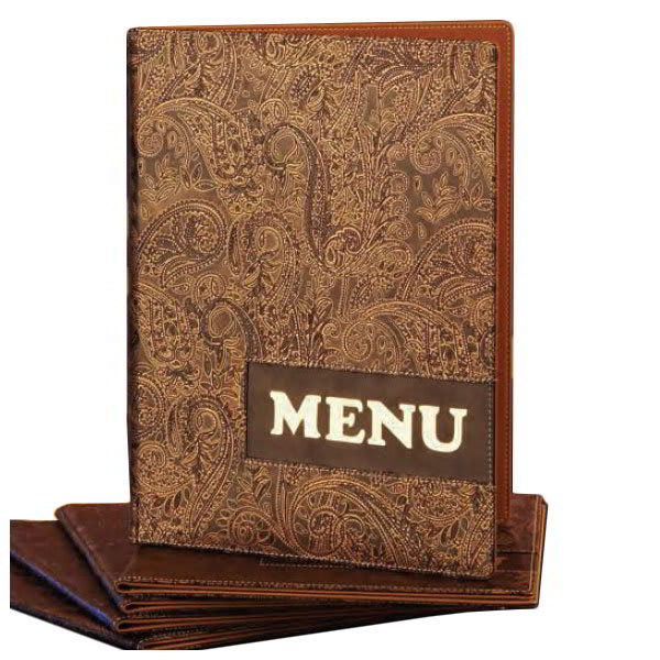 American Metalcraft MCDRLSPAISLEY Menu Cover w/ 2-Page Insert & Lettering On Cover, Gold