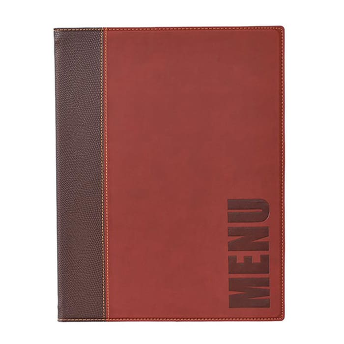 American Metalcraft MCTRLSWR Menu Cover w/ De-Bossed Lettering & 2 Page Insert, Wine Red