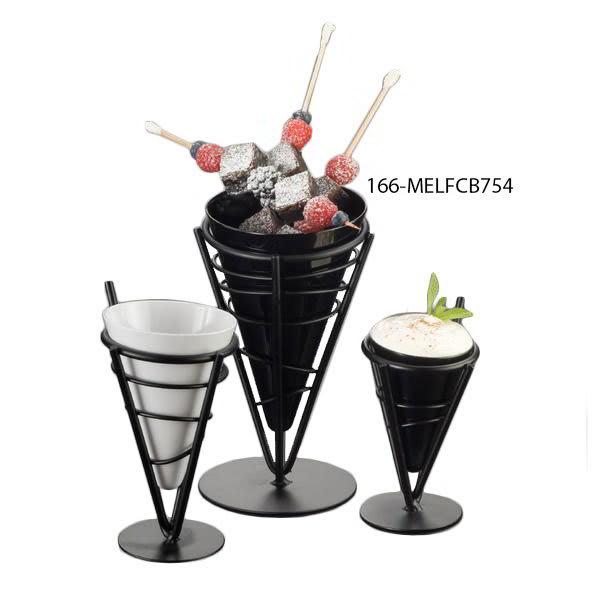 American Metalcraft MELFCB754 6.5-in Fry Cone w/ 23.5-oz Capacity, Melamine/Black