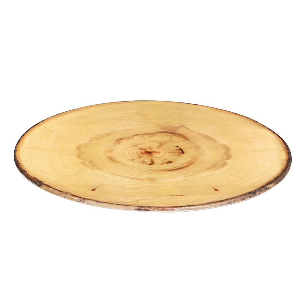 "American Metalcraft MSR21 21.5"" Round Serving Board - Rustic Wood Melamine"