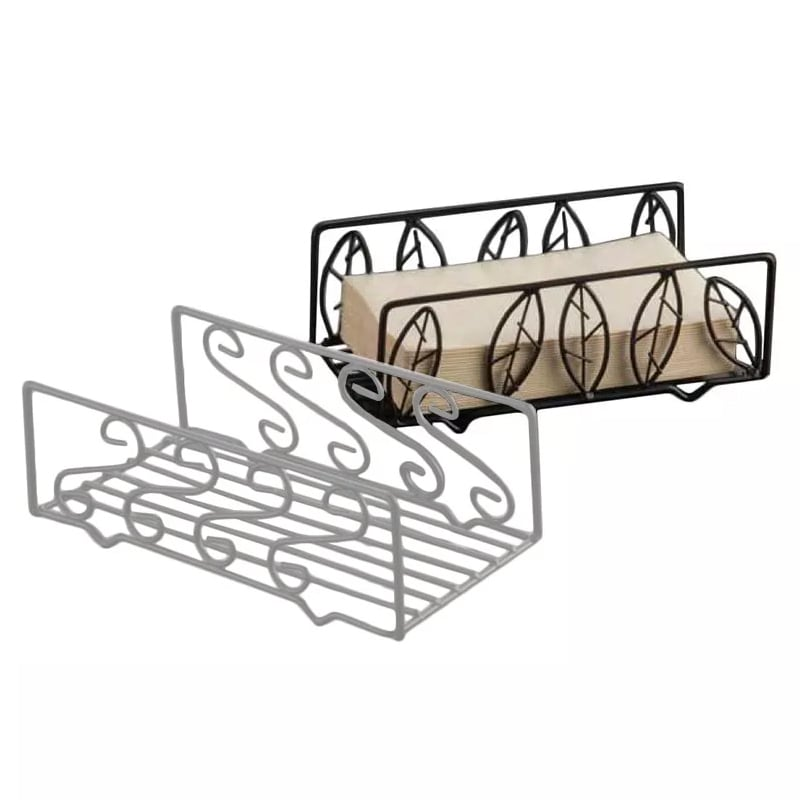 American Metalcraft NDSL59 Napkin Basket w/ Leaf Design, Wrought Iron/Black