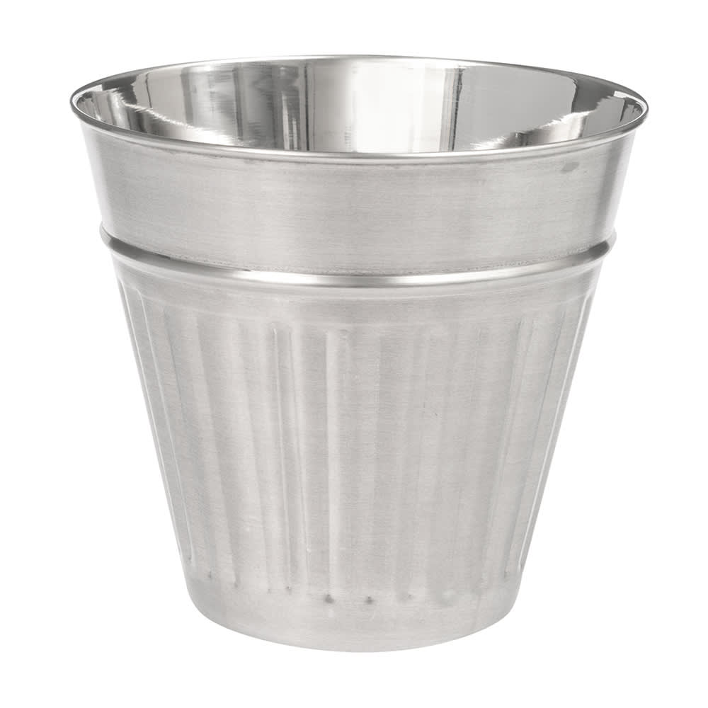 "American Metalcraft OSCAR2 5"" Mini Trash Can Serving Basket, 32 oz, Stainless Steel"