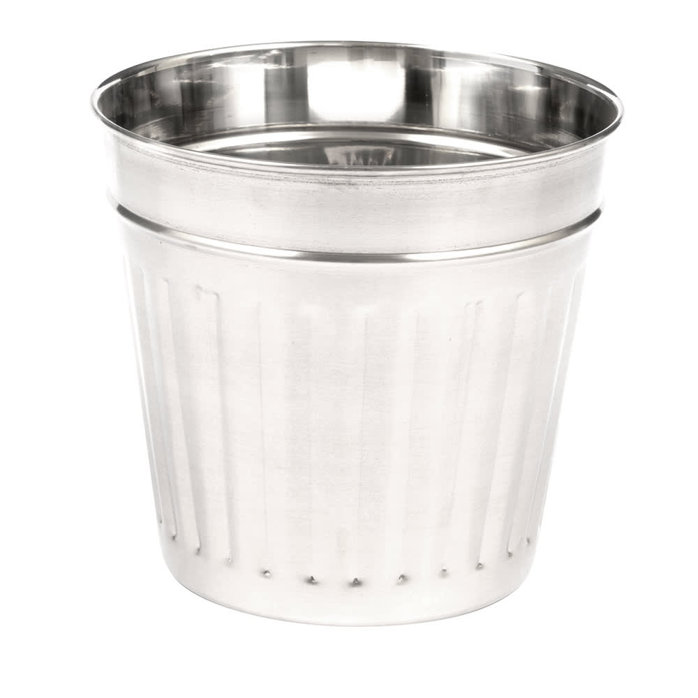 "American Metalcraft OSCAR3 6"" Mini Trash Can Serving Basket, 66-oz, Stainless Steel"